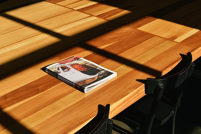 magazine on the table